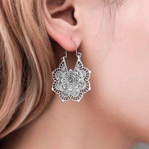 Jewelry - Antiqued Silver Boho Mandala Earrings